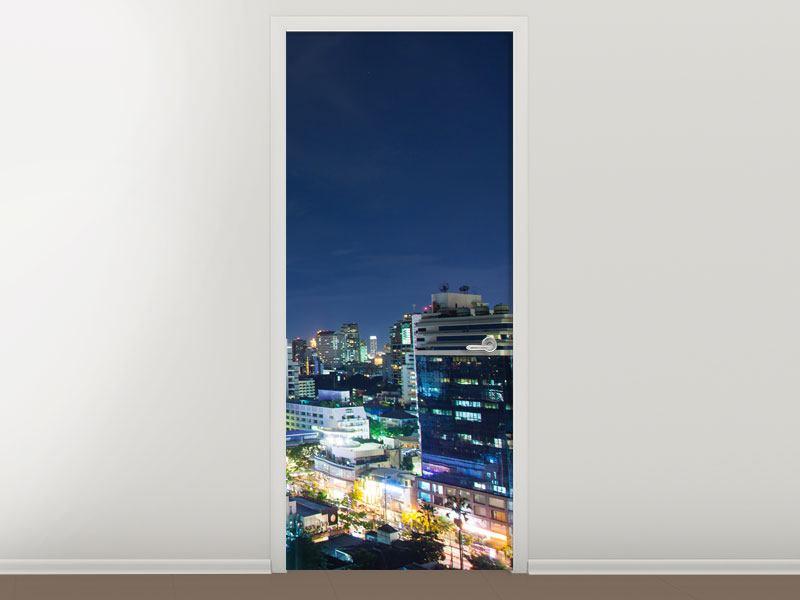 Türtapete Skyline Nachts in Bangkok