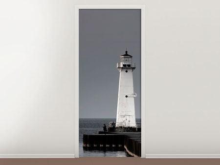 Türtapete Der Leuchtturm bei Nacht
