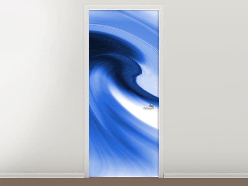 Türtapete Abstrakte blaue Welle