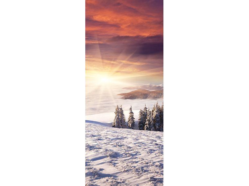 Türtapete Sonnenaufgang Winterlandschaft