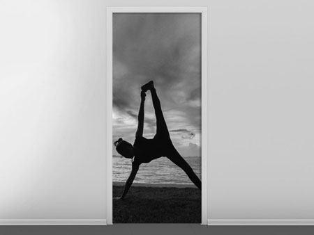 Türtapete Yoga am Strand