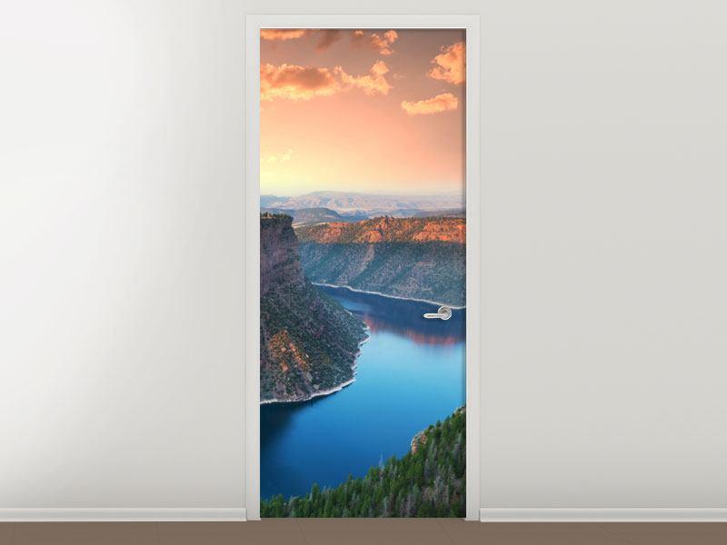 Türtapete Sonnenuntergang Rocky Mountains
