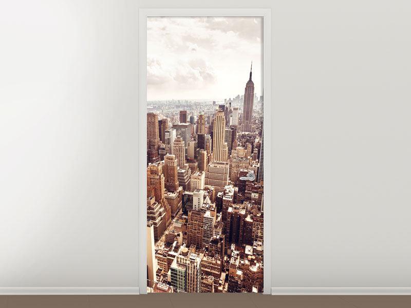 Türtapete Skyline Über den Dächern Manhattans