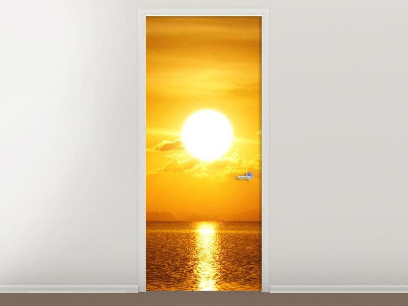 Türtapete Sonnenuntergang See