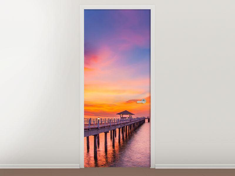 Türtapete Die romantische Brücke bei Sonnenuntergang