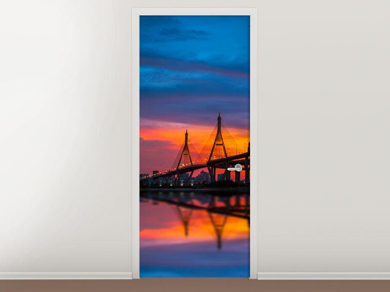 Türtapete Bhumiboll-Brücke bei Sonnenuntergang