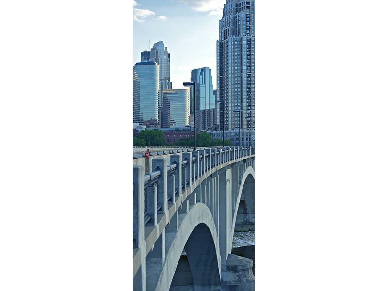 Türtapete Die Brücke zur Grossstadt