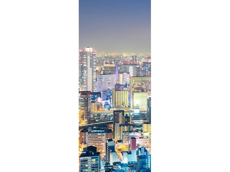 Türtapete Skyline Osaka bei Sonnenuntergang