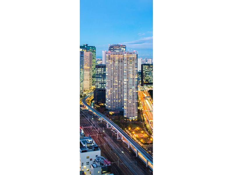 Türtapete Skyline Tokio im Lichtermeer