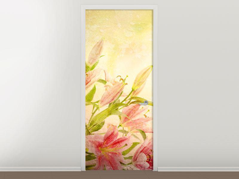 Türtapete Lilien-Gemälde