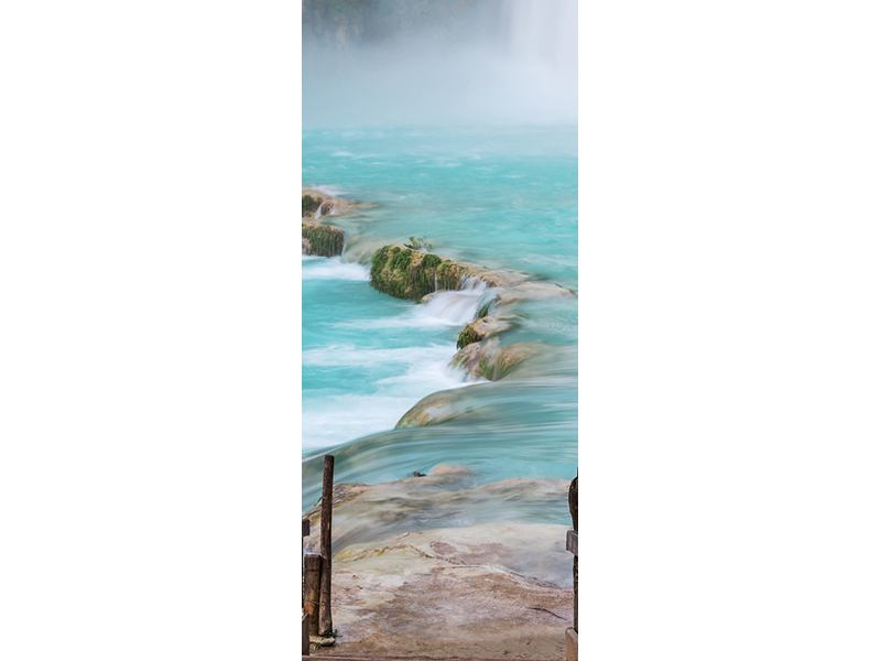 Türtapete Haus am Wasserfall