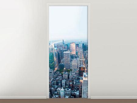 Türtapete Skyline Manhattan in der Abenddämmerung