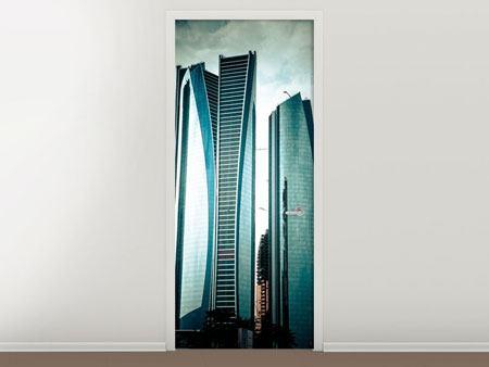 Türtapete Luxus Wolkenkratzer in Abu Dhabi