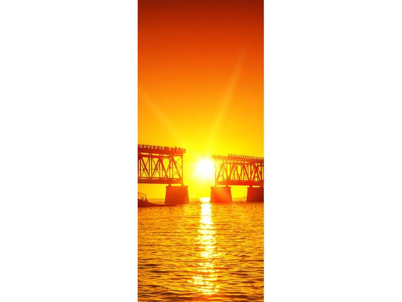 Türtapete Sonnenuntergang an der Brücke