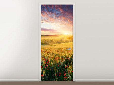 Türtapete Ein Blumenfeld bei Sonnenaufgang