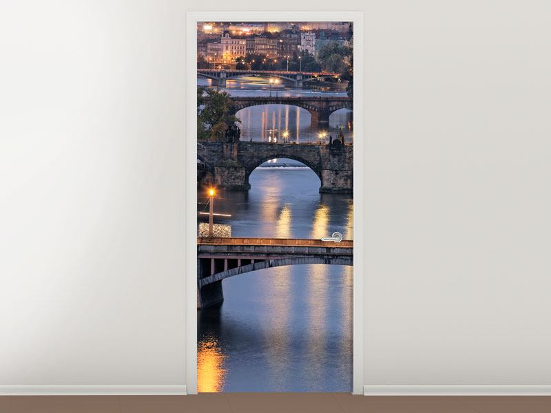 Türtapete Brücken in Prag