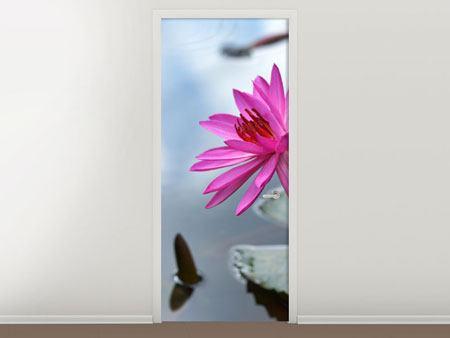 Türtapete Grosse Lotus in Pink