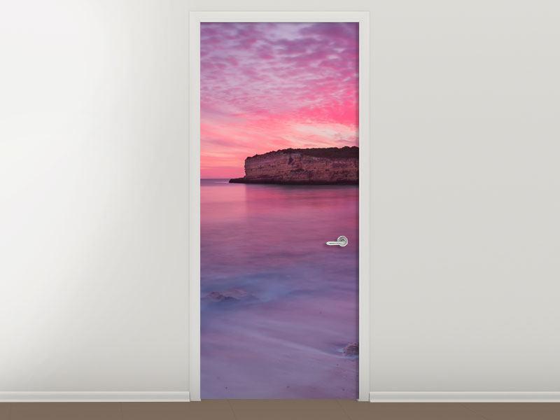 Türtapete Feuriger Sonnenuntergang am Meer