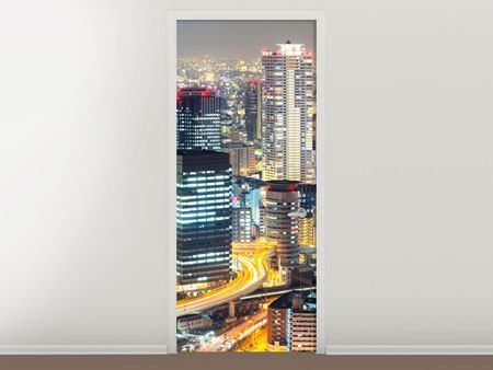 Türtapete Skyline Osaka im Lichtermeer