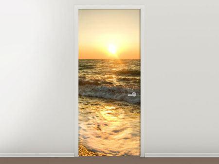 Türtapete Sonnenuntergang am Meer