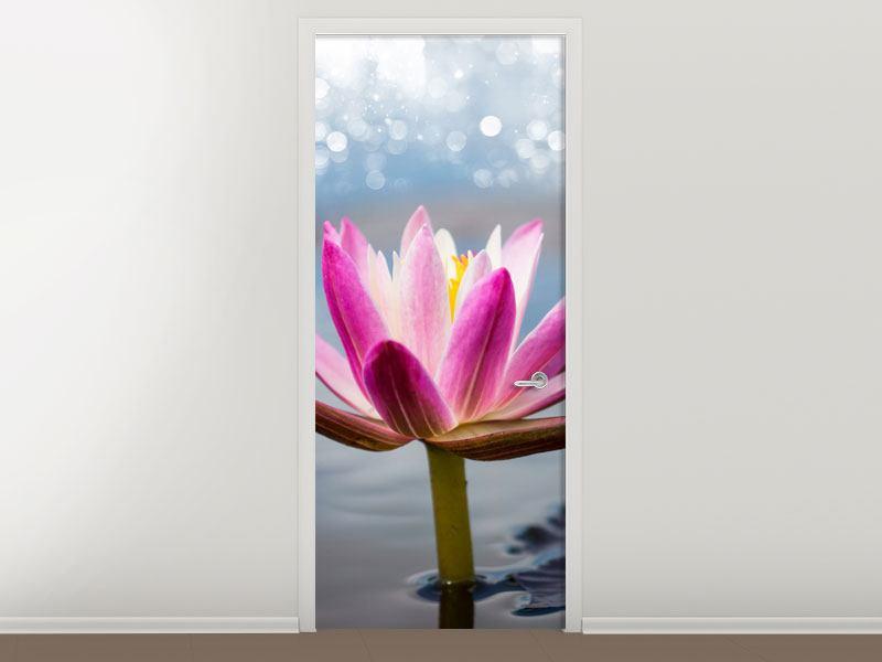 Türtapete Lotus im Morgentau