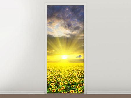 Türtapete Abenddämmerung bei den Sonnenblumen