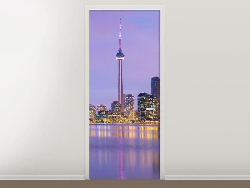 Türtapete Skyline Toronto bei Nacht