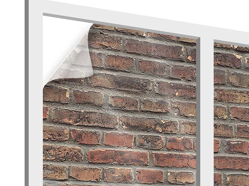 Window Print Red Brick Wall