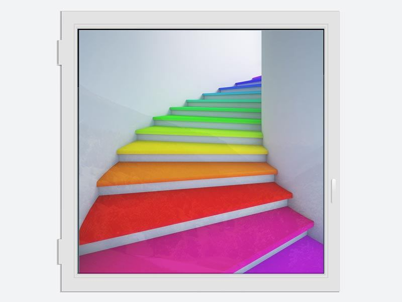 Window Print Colorful Stairs