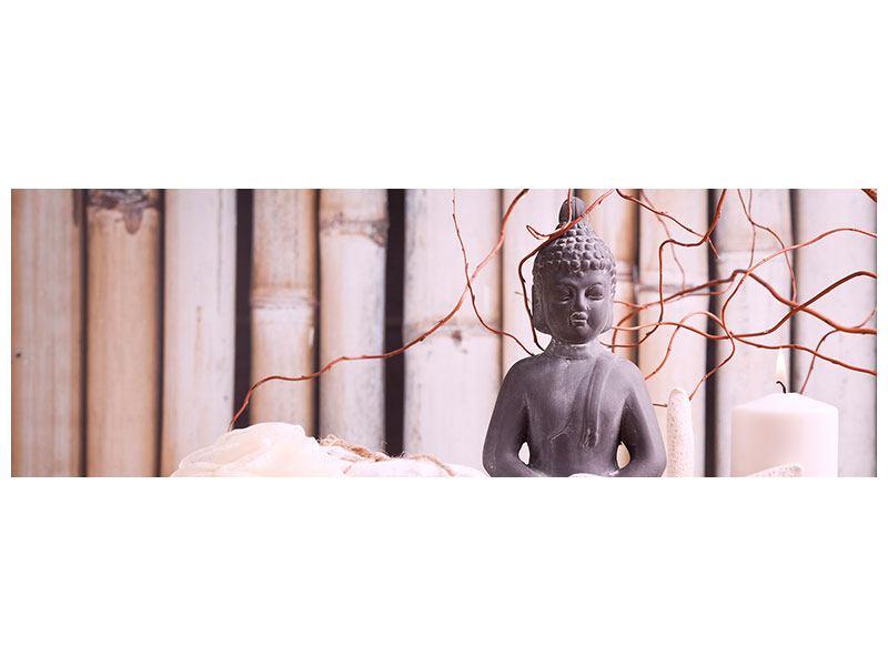 Hartschaumbild Panorama Spa + Buddha