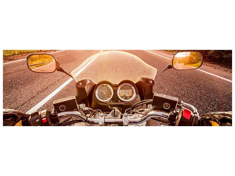 Hartschaumbild Panorama Motorrad-Tour