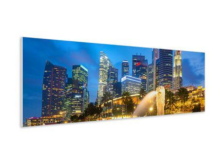Hartschaumbild Panorama Skyline Singapur im Lichtermeer