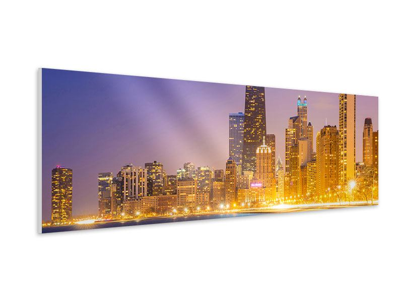 Hartschaumbild Panorama Skyline Chicago in der Nacht