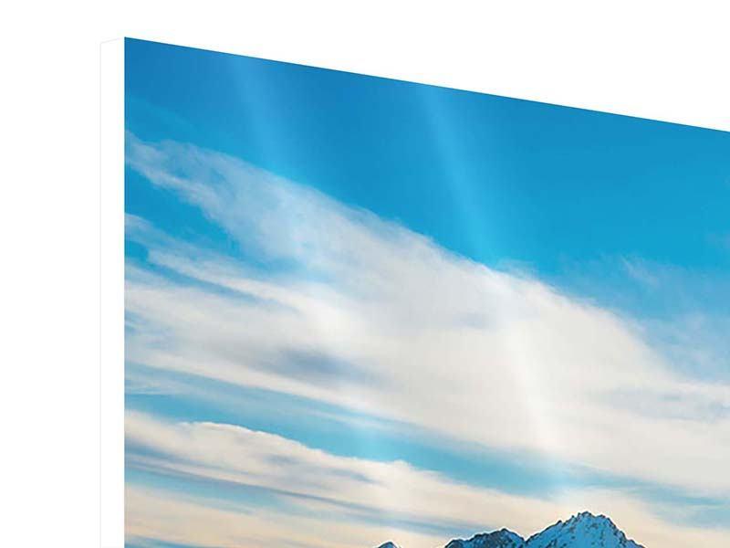 Hartschaumbild Panorama Ein Wintermärchen in den Bergen