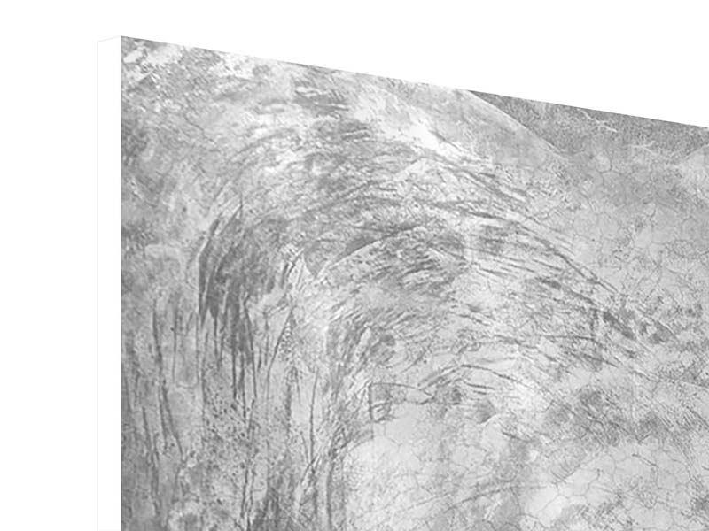 Hartschaumbild Panorama Wischtechnik in Grau