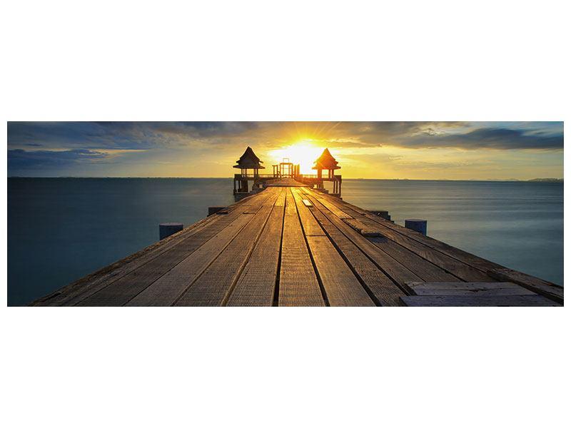 Hartschaumbild Panorama Der Sonnenuntergang bei der Holzbrücke
