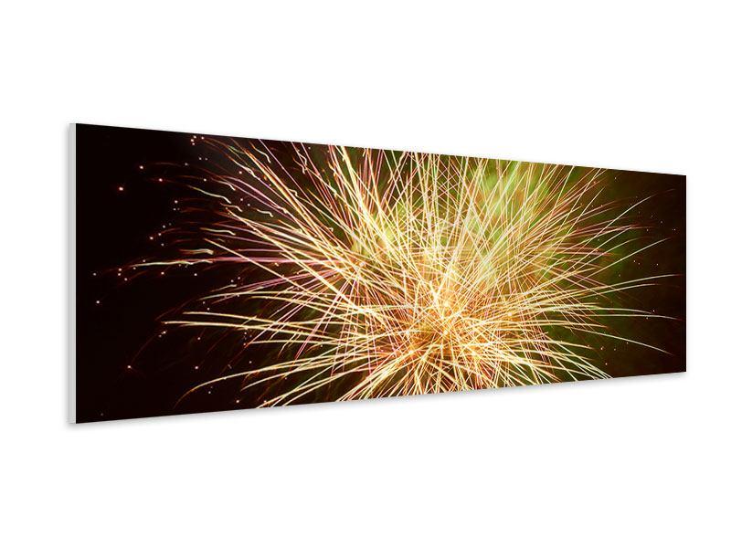 Hartschaumbild Panorama Feuerwerk XXL