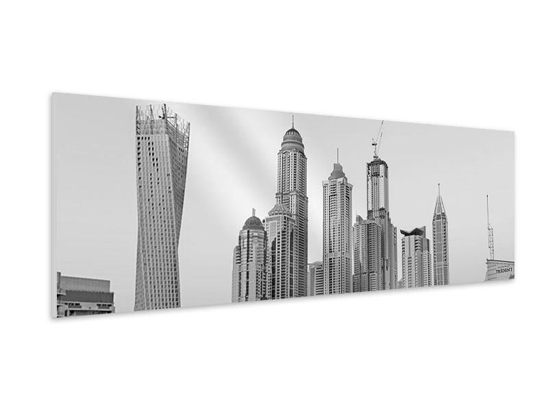 Hartschaumbild Panorama Majestätische Wolkenkratzer in Dubai