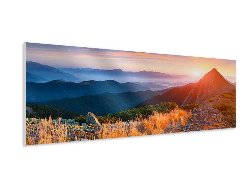 Hartschaumbild Panorama Sonnenuntergang in den Alpen