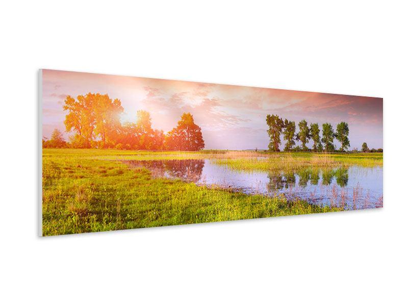 Hartschaumbild Panorama Sonnenuntergang am See