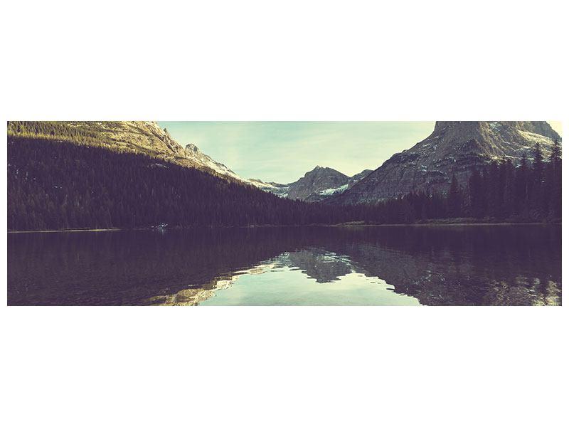 Hartschaumbild Panorama Spiegelung im Bergsee