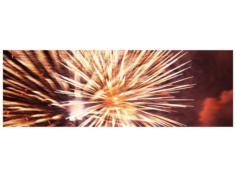 Hartschaumbild Panorama Close Up Feuerwerk