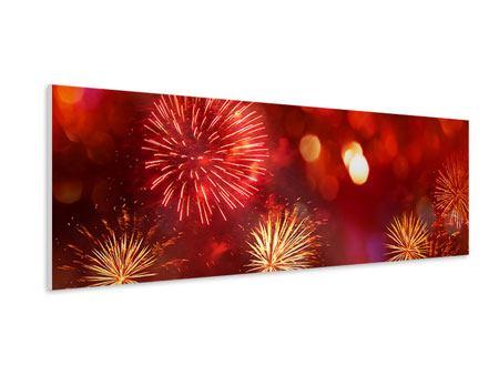 Hartschaumbild Panorama Buntes Feuerwerk