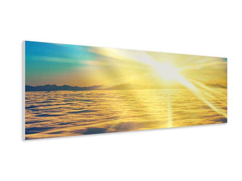 Hartschaumbild Panorama Sonnenuntergang über den Wolken