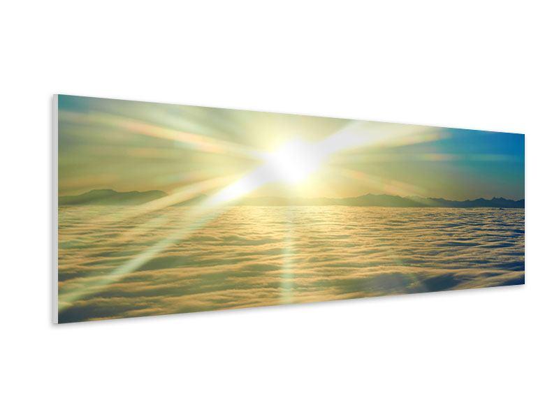 Hartschaumbild Panorama Sonnenaufgang über den Wolken