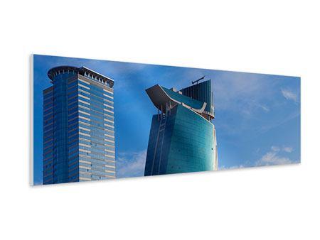 Hartschaumbild Panorama Zwei Wolkenkratzer