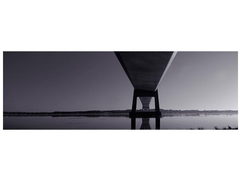 Hartschaumbild Panorama Die Brücke über tiefes Wasser