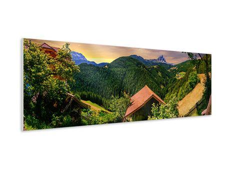 Hartschaumbild Panorama Schweizer Berge im Sommer