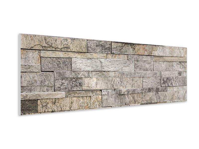 Hartschaumbild Panorama Elegante Steinmauer