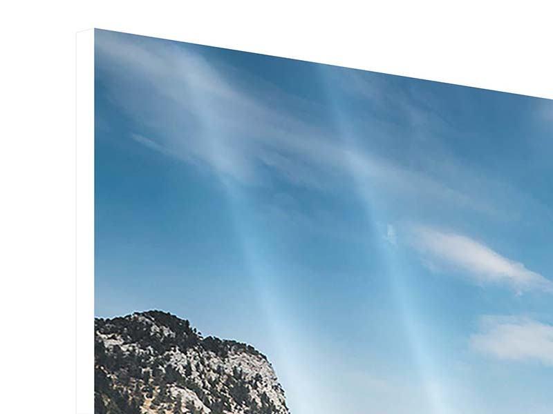 Hartschaumbild Panorama Der idyllische Bergsee